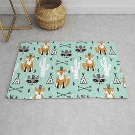 Fox and raccoon cute kids pattern teepee arrows southwest animals girls and boys decor Rug