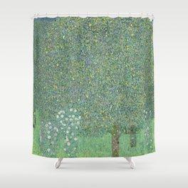 Gustav Klimt - Rosebushes Under the Trees Shower Curtain