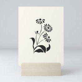 Black Decorative Flower on White, Minimalist line drawing, Modern art print with flower. Mini Art Print