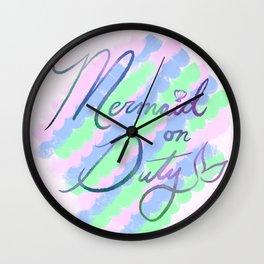 Mermaid on Duty Wall Clock