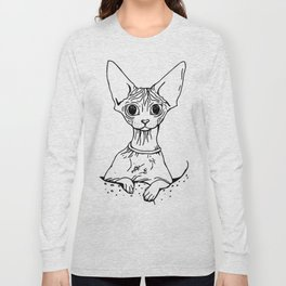 Big Eyed Pretty Wrinkly Kitty - Sphynx Cat Illustration - Nekkie - Cat Lover Gift Long Sleeve T-shirt