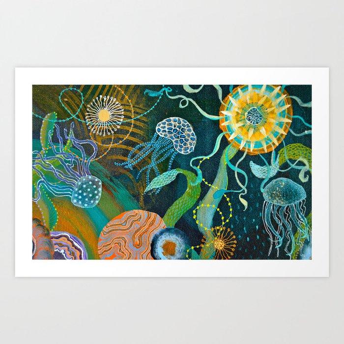 Three moons & a tropical sun Art Print