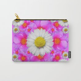Lilac Fuchsia Rose Bouquet Garden Shasta Daisies Art Carry-All Pouch