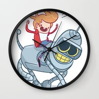 bender Wall Clocks featuring Adventurama/Fry and Bender by Spencer Duffy