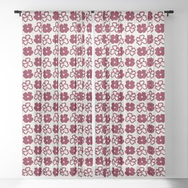 Minimalist Hand-drawn Acrylic Red Boho Flowers, Canvas Light Texture Sheer Curtain