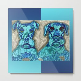 Brother Dogs Blue Metal Print