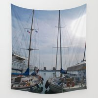 sailboat Wall Tapestries featuring Sailboat by M. Gold Photography