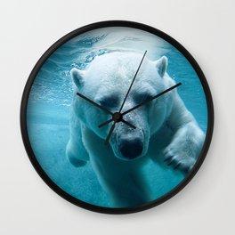 Polar Bear Swimming Wall Clock