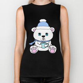 Polar Bear Drinking Hot Chocolate Biker Tank