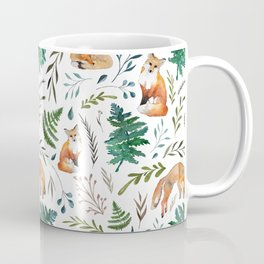 Foxes and Ferns Pattern Coffee Mug