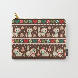 Striped Gingerbread Kitties (Brown) Carry-All Pouch