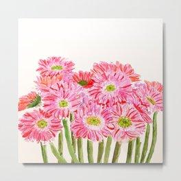 Pink Gerbera Daisy watercolor Metal Print