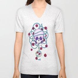 watercolor skull 2 Unisex V-Neck