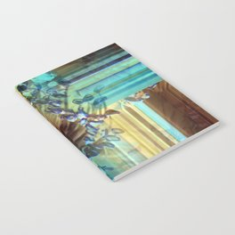Teal and Brown Lined Abstract Notebook