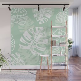 Minty Monstera Leaves Wall Mural