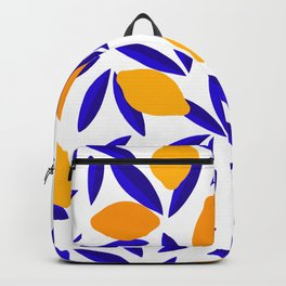 Blue and yellow Lemon Summery Pattern Backpack