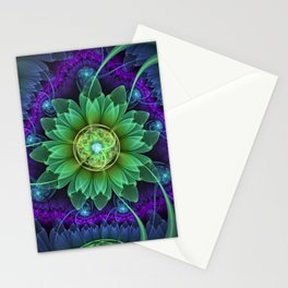 Blue and Green Pandoran Snap Lotus Fractal Flower Stationery Cards