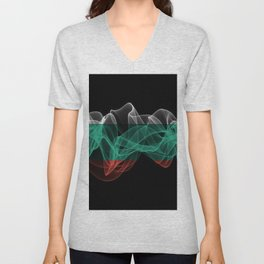Bulgaria Smoke Flag on Black Background, Bulgaria flag Unisex V-Neck