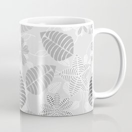 Leaf Floral Print in Black, White and Gray Coffee Mug