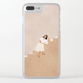 Girl Thinking on a Stairway Clear iPhone Case