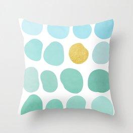 Aqua Pebbles & gold Throw Pillow