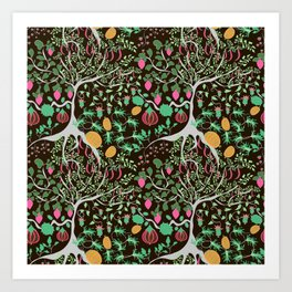 Fairy floral pattern unusual plants, trees and flowers Art Print