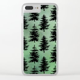 Hand painted watercolor green black winter pine trees Clear iPhone Case