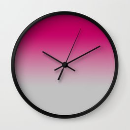 Gradient Deep Pink Grey Wall Clock