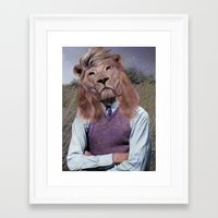 hipster lion Framed Art Prints featuring Hipster Lion by Rafael Matos
