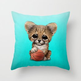 Cheetah Cub Playing With Basketball Throw Pillow