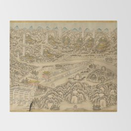 Panoramic view of the Ming Tombs (c. 1736) Ming shi san ling tu Throw Blanket