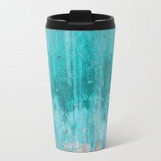 Weathered turquoise concrete wall texture Travel Mug
