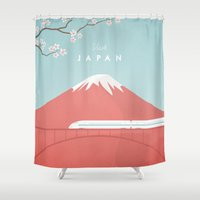 posters Shower Curtains featuring Vintage Japan Travel Poster by Travel Poster Co.
