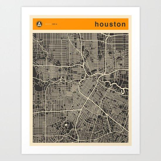 HOUSTON MAP Art Print by Jazzberry Blue