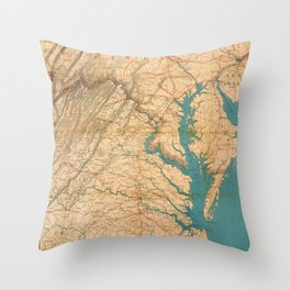 Vintage Map of Virginia and The Chesapeake Bay (1862) Throw Pillow