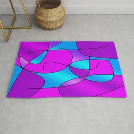 ABSTRACT CURVES #1 (Purples, Violets, Fuchsias & Turquoises) Rug