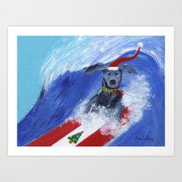 Christmas Surfing Weimaraner Art Print