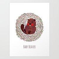 beaver Art Prints featuring Baby Beaver by haidishabrina