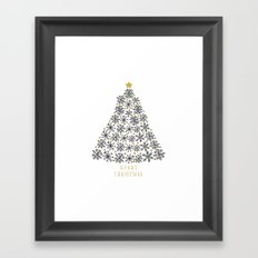 Snowflakes Tree (black gold) Framed Art Print