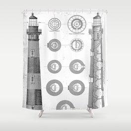 Vintage Bodie Island Lighthouse Diagram Shower Curtain