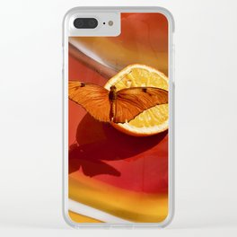 Orange Butterfly Clear iPhone Case