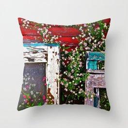 Window Flowers Throw Pillow