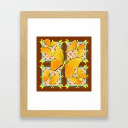 Yellow Butterflies Coffee Brown Pink & Blue Patterns Framed Art Print