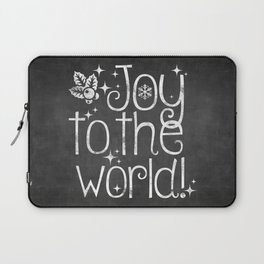 Joy to the world chalkboard christmas lettering Laptop Sleeve