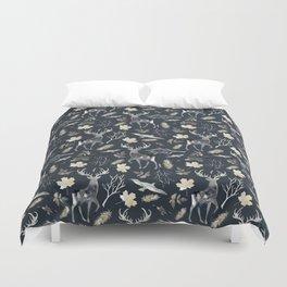 Deer and birds. Dark pattern Duvet Cover