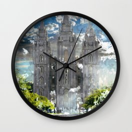 Salt Lake LDS Temple Watercolor Photo Wall Clock