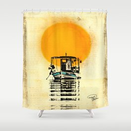 Sunset Boat Silhouette Shower Curtain