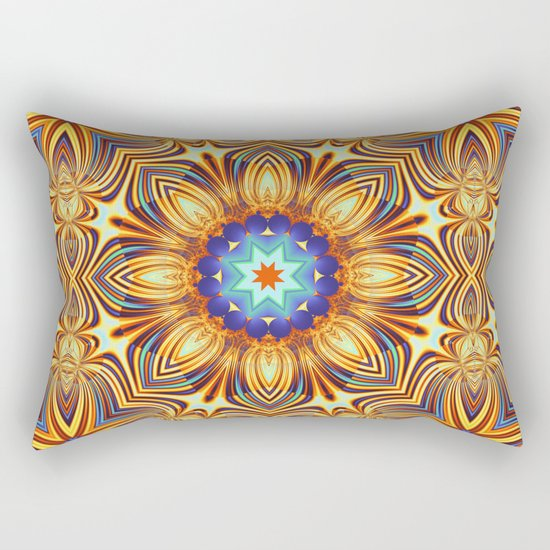 Kaleidoscope abstract with a flower shape and tribal patterns Rectangular Pillow