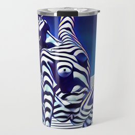 9124s-KMA Powerful Nude Woman Open and Free Striped in Blue Travel Mug