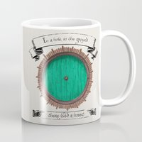 hobbit Mugs featuring There lived a hobbit by Cécile Pellerin